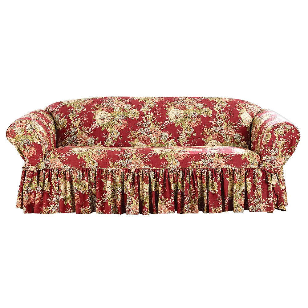 Enjoyable Ballad Bouquet Sofa Slipcover Crimson Red Sure Fit Pdpeps Interior Chair Design Pdpepsorg