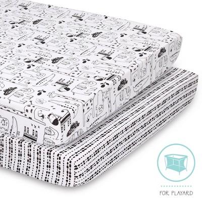 The Peanut Shell Playard Sheet Black and White Animal -Geometric Stripe 2pk