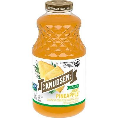 R.W. Knudsen Family Organic Just Pineapple Juice - 32 fl oz Glass Bottle