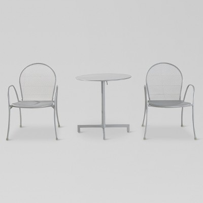 Carmack 3pc Metal Mesh Patio Bistro Set - White- Threshold™