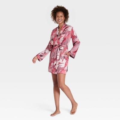Women's Abstract Print Satin Robe - Stars Above™ Pink XL/XXL