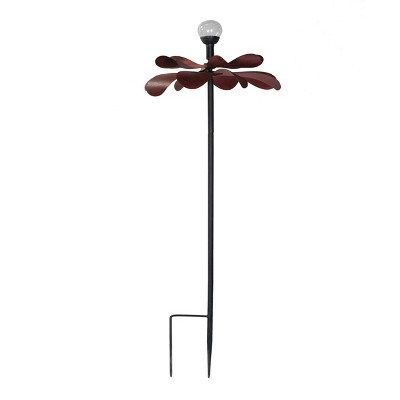 24 x24 x60  Iron Kinetic Solar Led Flower Garden Stake - Black - Sunjoy