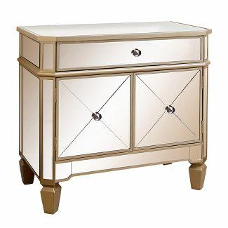 Knapp Trim Mirrored Console Cabinet - Gold - Abbyson
