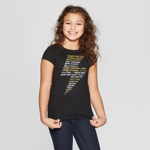 Girls' Harry Potter Bolt Names Graphic Short Sleeve T-Shirt - Black - image 1 of 3