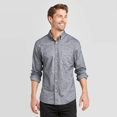 Men's Slim Fit Palm Tree Print Long Sleeve Button-Down Oxford Shirt - Goodfellow & Co™ Gray XL