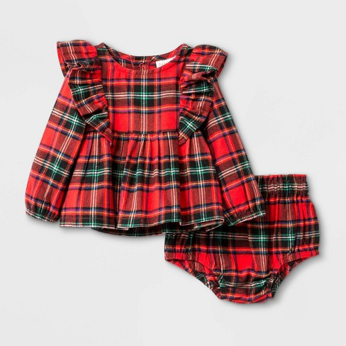 Baby Girls' Plaid Flannel Top & Bottom Set - Cat & Jack™ Red - image 1 of 2