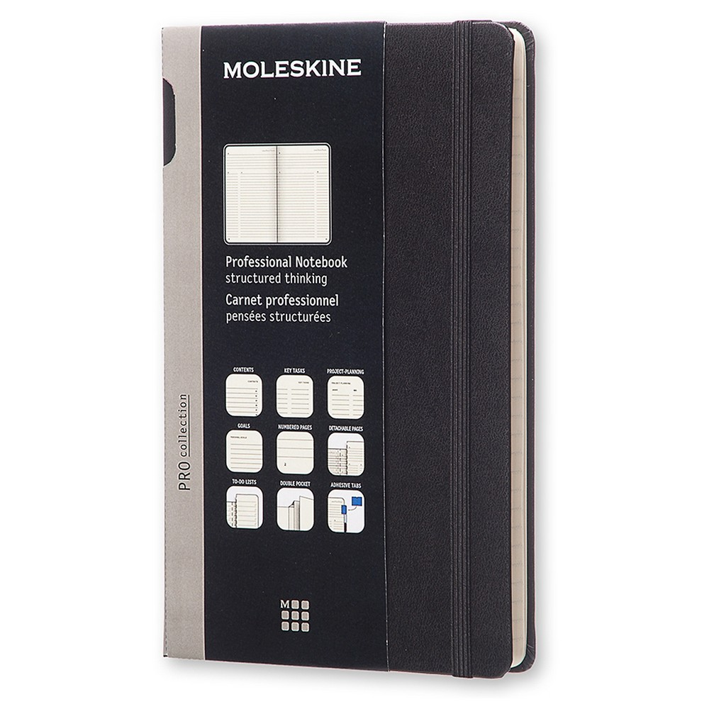 "Image of ""Moleskine Professional Composition Notebook, Elastic Closure, Narrow Ruled, 240 sheets, 8.25"""" x 5"""" - Black"""