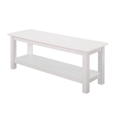 50'' Country Style Entry Bench with Slatted Shelf - White - Saracina Home