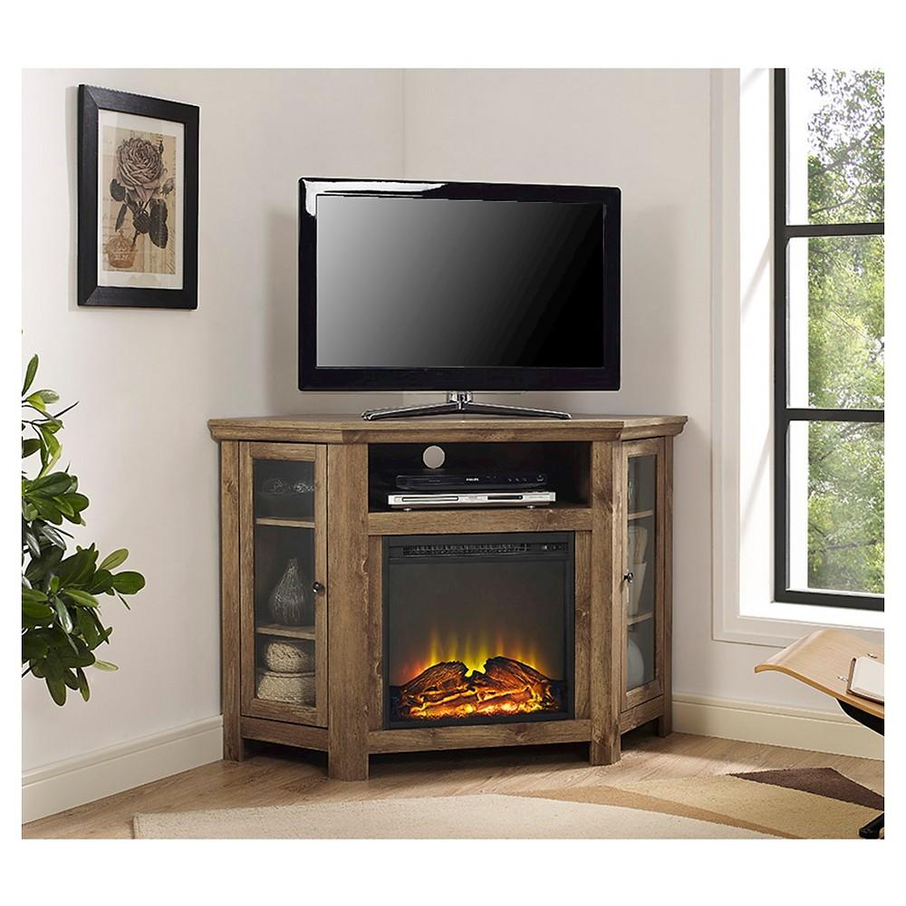 "Image of ""48"""" Wood Corner Fireplace Media TV Stand Console - Barnwood - Saracina Home"""