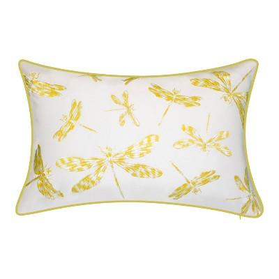 Embroidered Dragonflies Rectangular Indoor/Outdoor Throw Pillow - Edie@Home