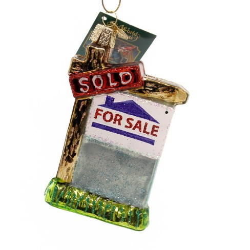 """Old World Christmas 4.0"""" Realty Sign Ornament Houses For Sale Sold - image 1 of 2"""