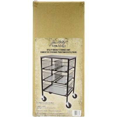 """Tim Holtz Rolling Utitlty Basket Storage Cart W/5 Drawers-12.99""""X14.17""""X29.13"""" FOB:MI"""