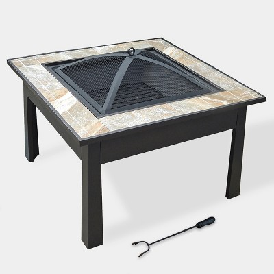5-in-1 30  Square Ceramic Tile Fire Table - Natural - leisurelife