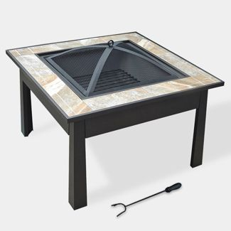 "5-in-1 30"" Square Ceramic Tile Fire Table - Natural - leisurelife"