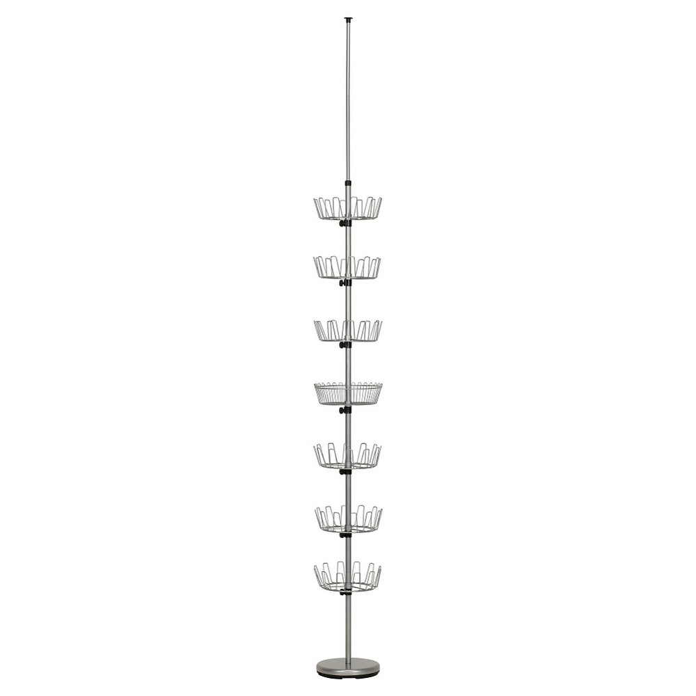 Household Essentials - Floor-to-Ceiling Revolving Shoe Tree - 36 Pairs - Satin Silver