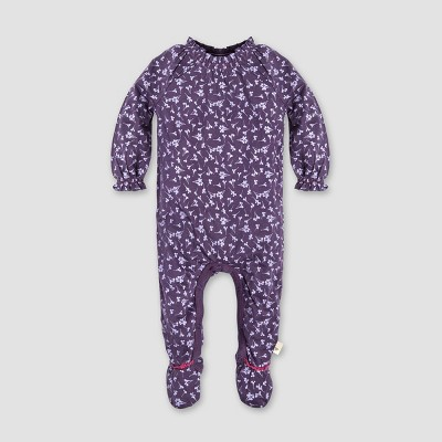 Burt's Bees Baby® Baby Girls' Dandelions Footed Coverall - Aubergine 6-9M
