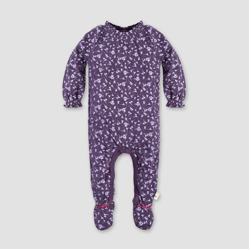 Burt's Bees Baby® Baby Girls' Dandelions Footed Coverall - Purple - image 1 of 2