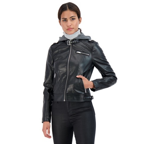 Sebby Women's Hooded Faux Leaher Jacket - image 1 of 2