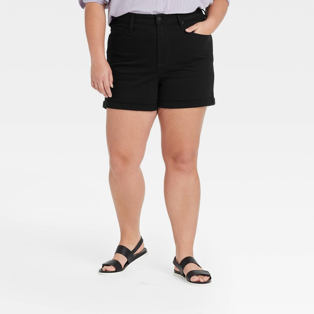 Women 39 S Plus Size High Rise Midi Jean Shorts Universal Thread 8482 Black 18w