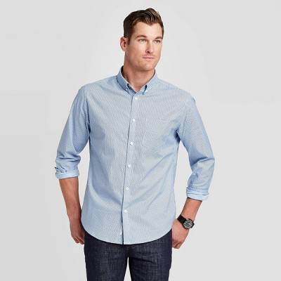 Men's Standard Fit Stretch Poplin Long Sleeve Button-Down Shirt - Goodfellow & Co™