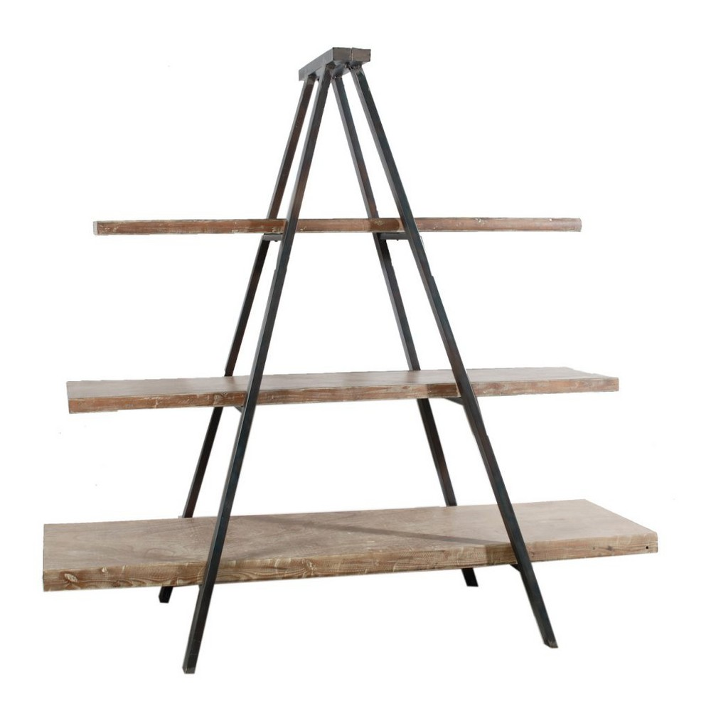 Ramsden Solid Wood and Iron Tripod Book Shelf Brown/Black - A&b Home