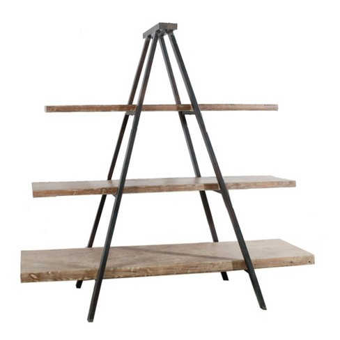 Ramsden Solid Wood and Iron Tripod Book Shelf Brown/Black - A&B Home - image 1 of 3