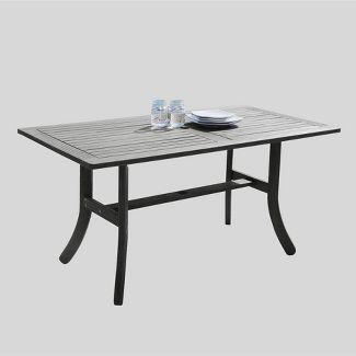 Wood Patio Dining Table Gray - Vifah