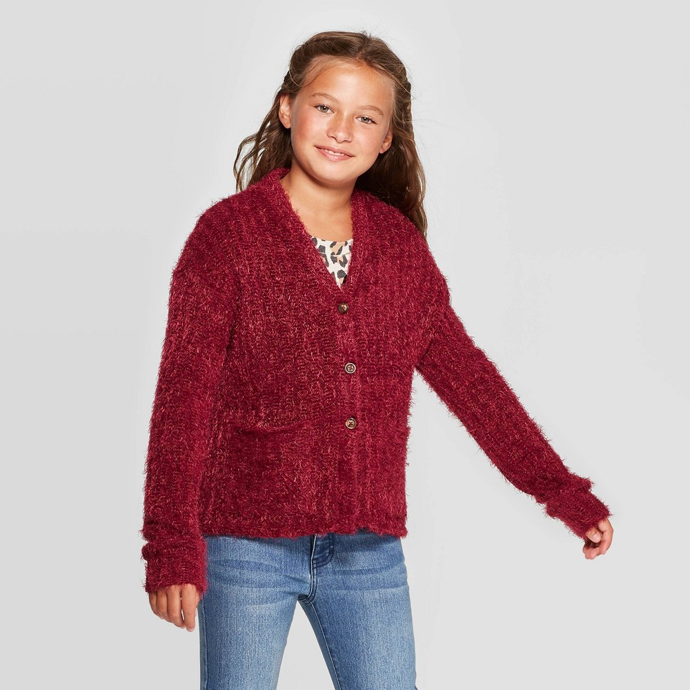 Girls' Button-Front Cardigan - art class Red XL was $17.99 now $9.89 (45.0% off)