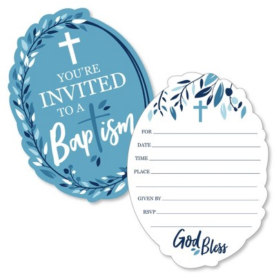 Big Dot of Happiness Baptism Blue Elegant Cross - Shaped Fill-in Invitations - Boy Religious Party Invitation Cards with Envelopes - Set of 12