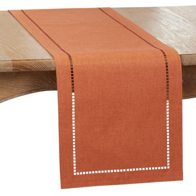 Saro Lifestyle Dining Table Runner With Laser-Cut Hemstitch Design