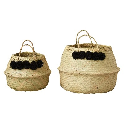Round Wicker Collapsible Baskets (13.75 & 19 )- Set of 2 - 3R Studios