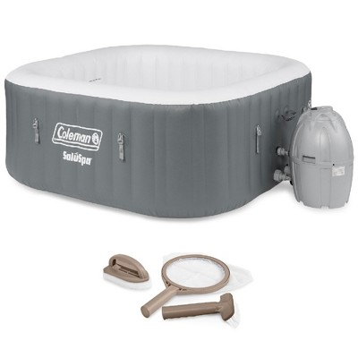Bestway Coleman 15442-BW SaluSpa 4 Person Portable Inflatable Outdoor Square Hot Tub Spa with 114 Air Jets, and PureSpa Maintenance Accessory Kit