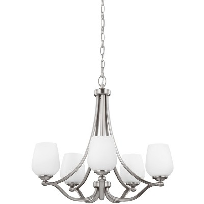 """Sea Gull Lighting Vintner 5-Light 26"""" Chandelier, Satin Nickel Finish with Opal Etched Glass F2960/5SN"""