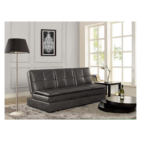 Kingsbridge Convertible Storage Sofa With Drink Holder Midnight Burl Serta