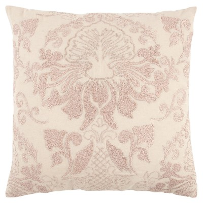 Oriental Floral Throw Pillow Pink/Natural - Rizzy Home