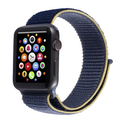 Insten Soft Woven Nylon Band for Apple Watch 38mm 40mm All Series SE 6 5 4 3 2 1, For Women Men Girls Boys Replacement Strap, Blue