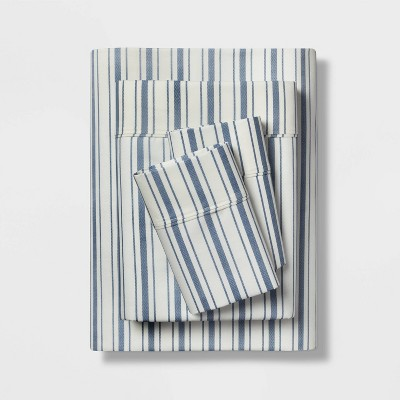 Queen 400 Thread Count Striped Performance Sheet Set Blue/White - Threshold™