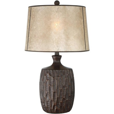 Franklin Iron Works Rustic Table Lamp Brown Mica Drum Shade for Living Room Family Bedroom Bedside Nightstand Office