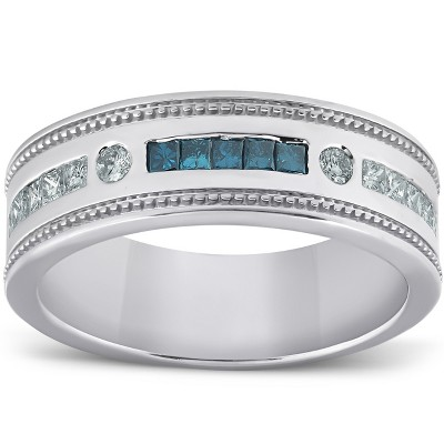 Pompeii3 1/2 Ct Mens Blue Diamond Princess Cut Wedding Ring 10k White Gold