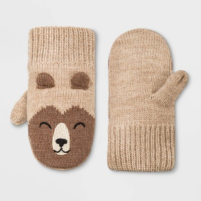 Toddler Boys' Bear Mittens - Cat & Jack™ Beige 2T-5T