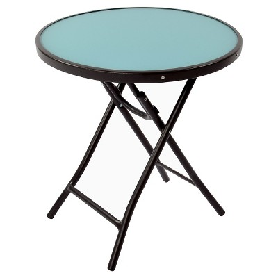 Round Glass Folding Patio Accent Table Blue - Threshold™