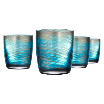 Artland Misty 10oz Double Old Fashioned Glasses - Set of 4 Aqua