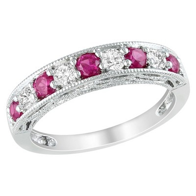 Silver 4/5ct Created Ruby and Created White Sapphire Ring