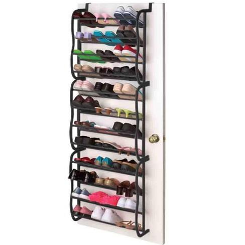 Home Basics 36 Pair Over the Door Steel Shoe Rack, Black - image 1 of 2