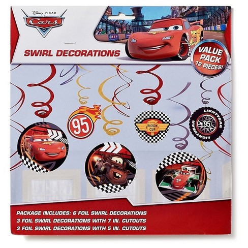 Disney Cars 3 Swirl Decorations 12 Pieces Birthday Party Favor Supplies