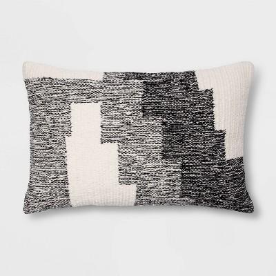 Modern Tufted Geometric Lumbar Throw Pillow Gray - Project 62™