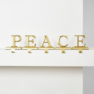 5pk PEACE Gold Christmas Stocking Holder - Wondershop™