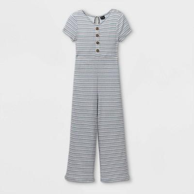 Girls' Button-Front Short Sleeve Jumpsuit - art class™