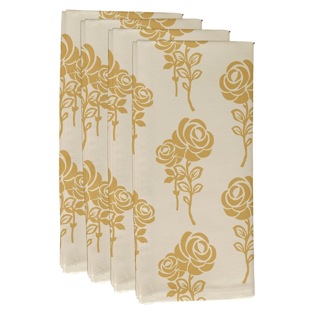 "Image of ""Gold Carmen Floral Print Napkin Set (19""""X19"""") - E By Design"""