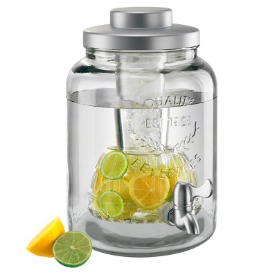 Masonware Glass Beverage Jar with Chiller and Infuser 2gal
